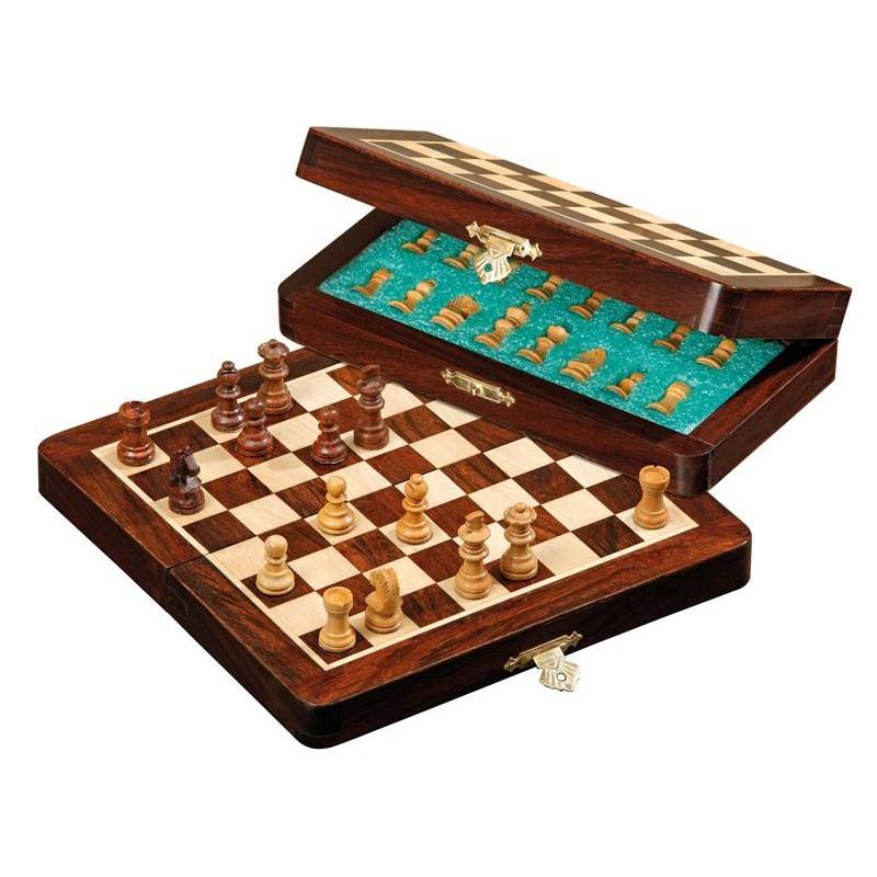 Jeu d'échecs de voyage magnétique en bois cases 19mm