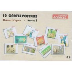 10 cartes postales humoristiques Vive les échecs ! (Série 1)